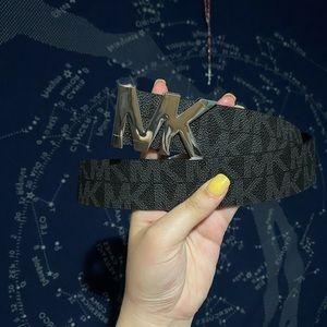 Michael Kors Black MK Leather Belt